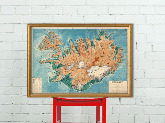 Old map of Iceland  - Iceland map  fine print - Islandia map - Wall map decor
