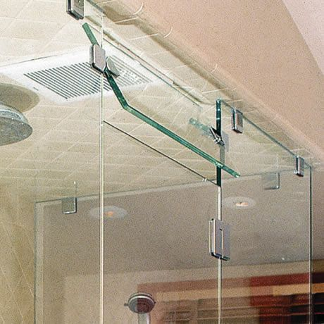 shown with glass to glass hinges steam vents can be positioned above doors in