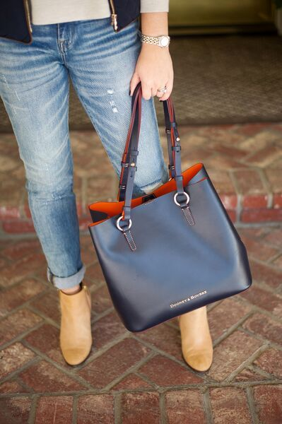Navy Dooney and Bourke tote- Life with Lipstick On