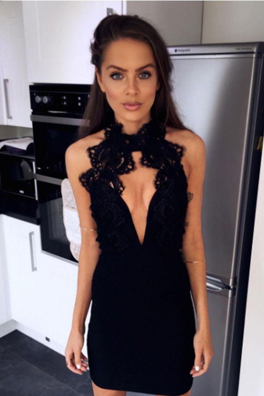 Black Plunge Halter-neck Dress   Rare London