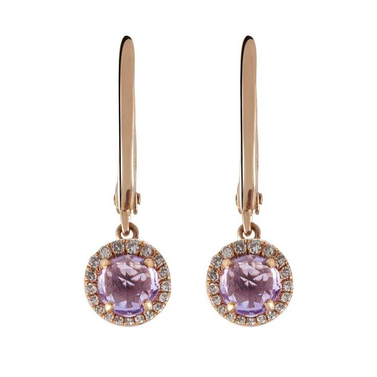 Pendientes aristocrazy en ba o de oro rosa y amatista for Banos electroliticos para joyeria