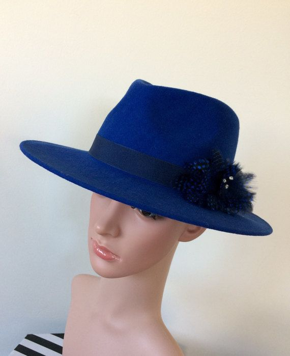 Royal blue wool felt fedora hat, country living, race day hat, embellished, feathers, boho