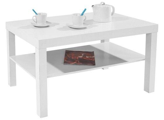 Konferenčný stolík bielej farby, vrátane odkladacej dosky s max. Nosnosťou 8 kg. Max.nosnosť hornej dosky 20 kg. Š/V/H:90/45/55 cm.