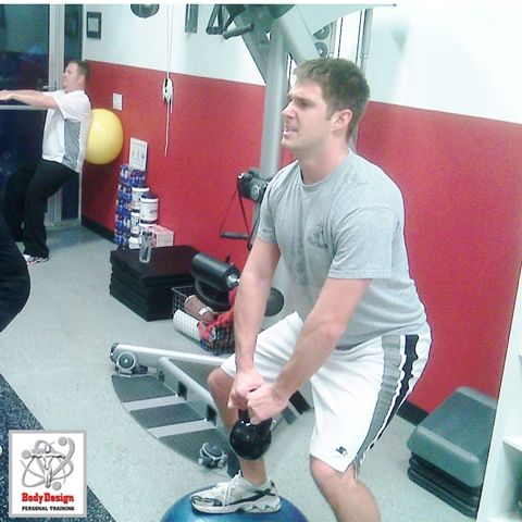 """Crazy challenging Workout Of the Day to target those bold back and bicep muscles! Remember: If it doesn't challenge you, it won't change you! Try the """"Bi and Backinator"""" WOD which is on our blog http://www.bodydesignpersonaltraining.com/blog/ Word of advice! Use extra care when doing Kettle Ball swings on the Bosu Ball!"""