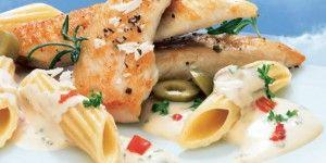 Κοτόπουλο με πένες και τυρί κρέμα