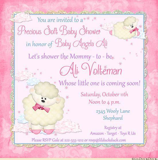 precious lamb baby shower invitations soft fantasy
