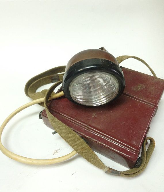 Soviet Miner Head Lamp With a Box Industrial by SovietHardware