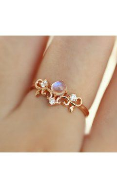 Rose Gold Plated 925 Silver Moonstone Princess Crown Ring