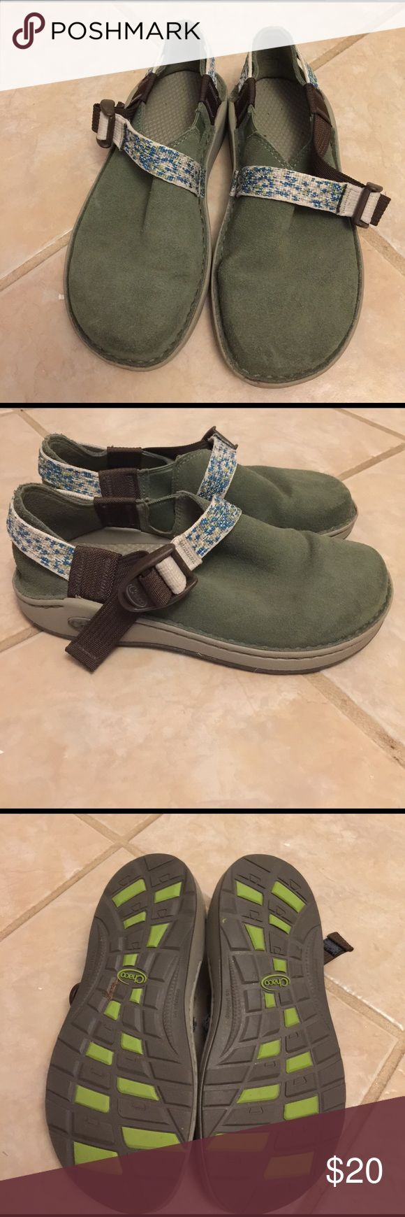 Kids Chaco green suede shoes Barely worn green suede Chaco shoes size 2 youth Chaco Shoes Moccasins