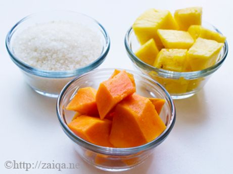 Homemade Facial Peel for Skin   • 1 cup fresh pineapple   • 1/2 cup fresh papaya   • 1 tablespoon honey   • Puree fruit together then add the honey and mix into a smooth paste   Pineapple and papaya contain natural enzymes and alpha-hydroxy acids that remove dead skin cells while the honey moisturizes the skin.
