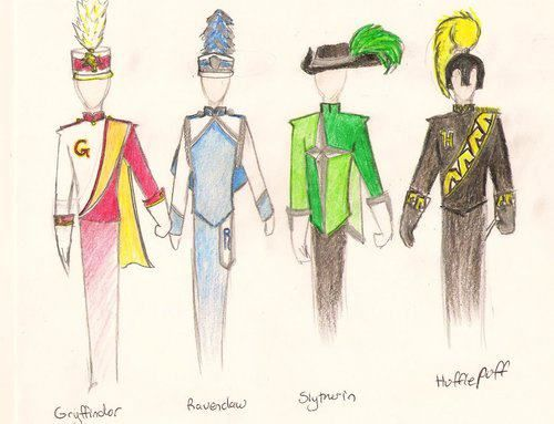 Harry Potter Marching Uniforms- this is so incredibly ridiculous/nerdy, i had to repin it. and why do griffindor's have a cape? i hate capes!