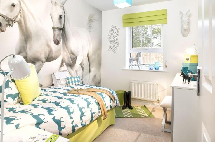 Interior Designed Teenage Girl's / Equestrian / Horse themed bedroom using Joules' horse bedlinen and a horse themed digital wall covering, lime and teal scheme. 2015