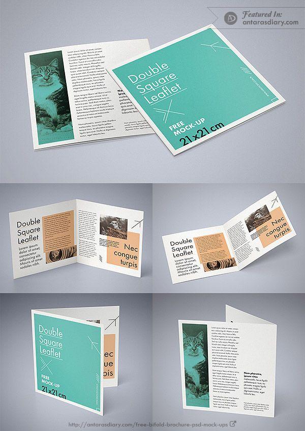 Free Double Square Leaflet Mockup Psd Square Brochures Brochure Psd Mockup Design