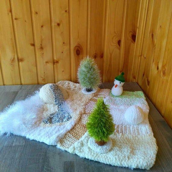 Table Nature, cadeau de maman enceinte, jeu imaginatif, cadeau de félicitations, décor de salle de jeu, jardin miniature, parents d'attendre, orthophonie   – knitted mats, sensory mats
