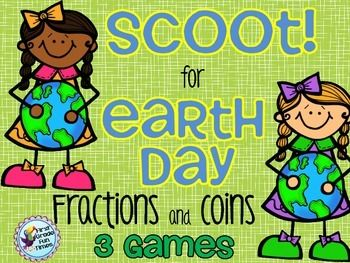 SCOOT!  Earth Day - 3 Games - Fractions and Coins $