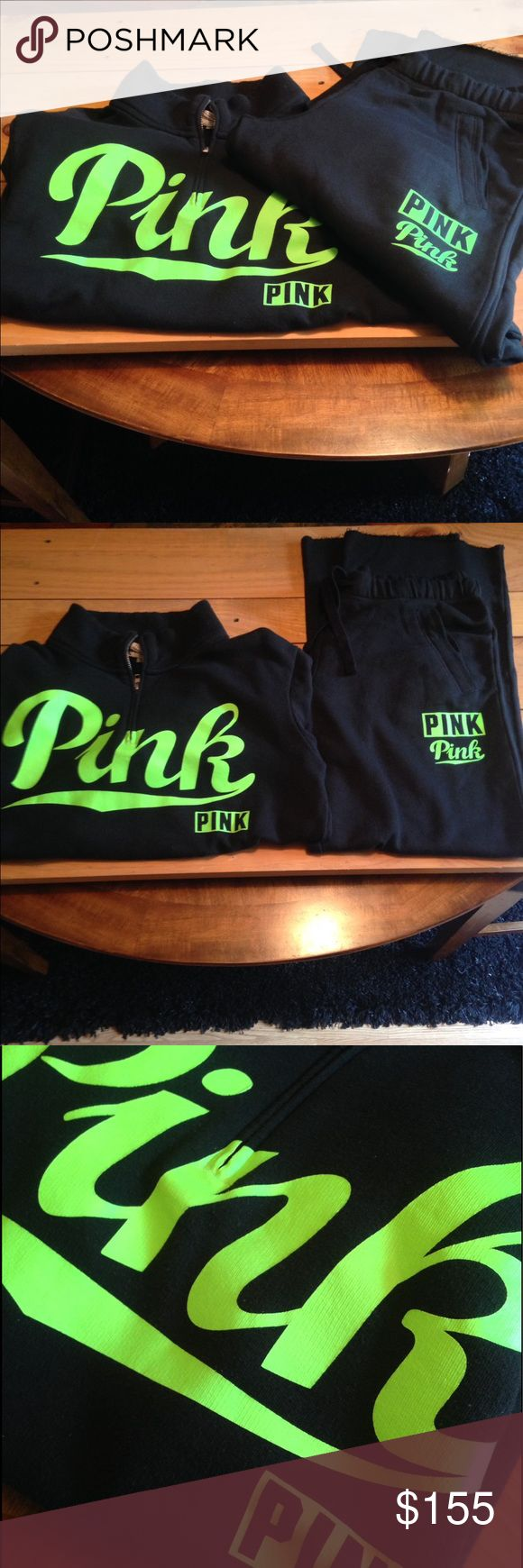 Rare VS Pink Sweatsuit Outfit Neon Green M 1/2 Zip Pullover Sweatshirt is in Excellent Preowned condition. Boyfriend Sweatpants are New without Tags. No flaws or discolorations, from a smoke free home. Neon Green Pink Logo Sweatsuit both size Medium. PINK Victoria's Secret Other