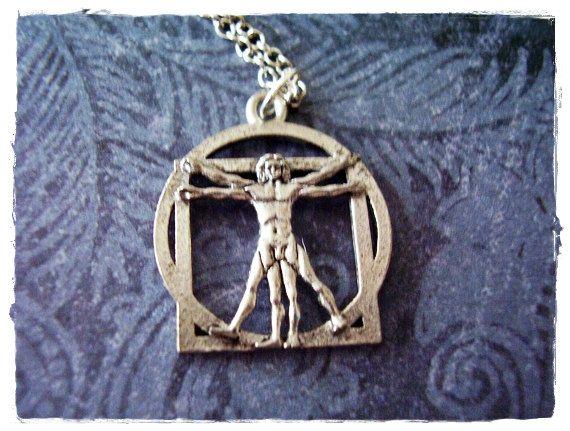 Collier homme de Vitruve - charme homme de Vitruve étain Antique sur une chaîne du câble plaqué argent délicate ou seule breloque en argent