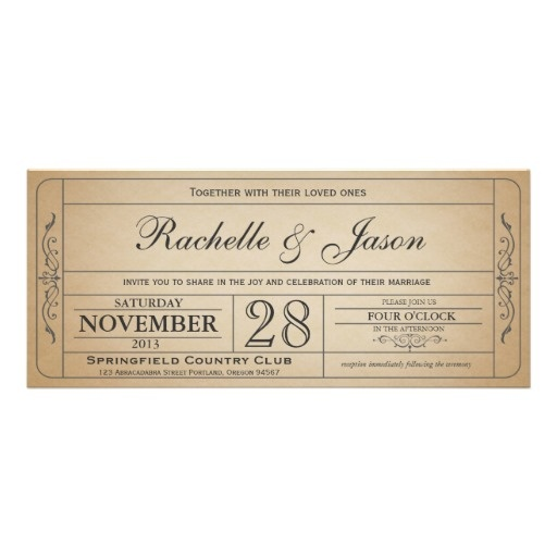 42 best Vintage ticket wedding invitations images on Pinterest - prom ticket template