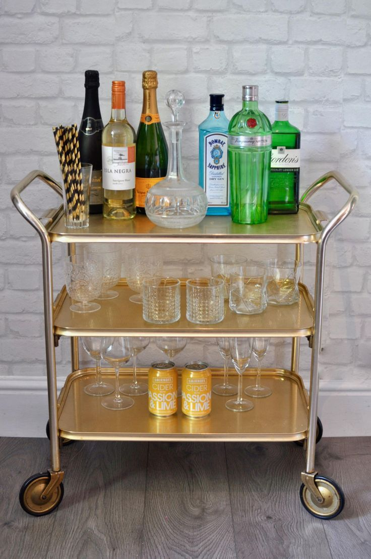 Vintage 1960s 3 Tier Gold Drinks Cart, Retro Hostess Trolley, Side Table,  Drinks