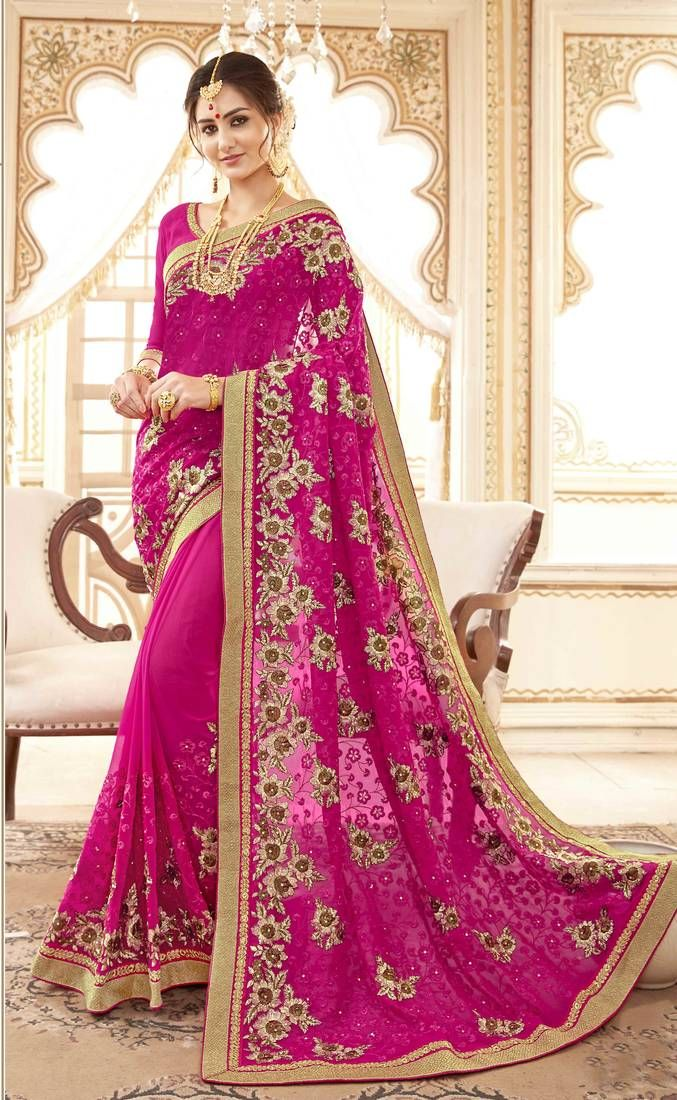 aded18d63c Pink embroidered faux georgette saree | Party Wear Sarees | Saree ...