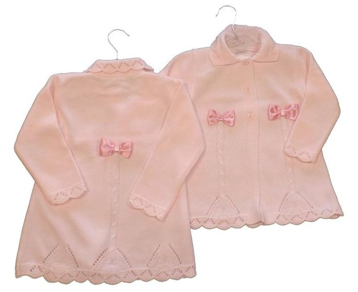 Beautiful,quality long line cardigan,pram coat by Zip Zap. A stunning long pram coat cardigan in a Spanish,Romany style. Fancy knitted pattern with satin bows decoration to the front and back. Pale pink with long sleeves,small collar and button fastenings. | eBay!