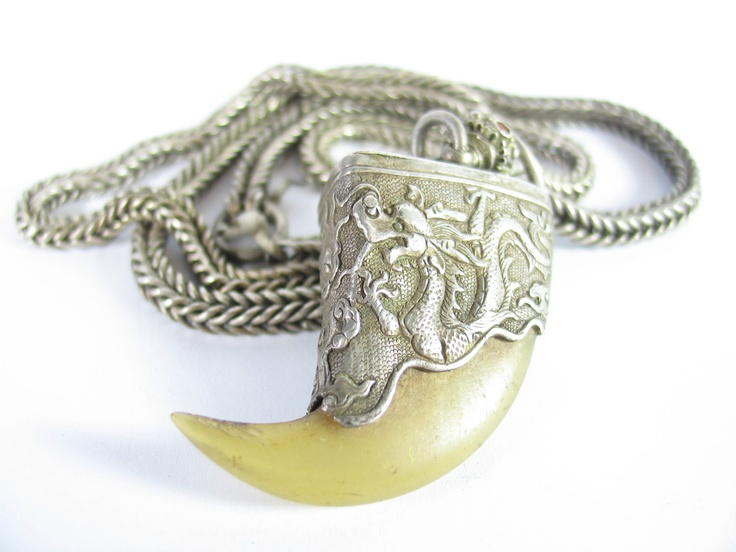 Antique Tiger's Claw Pendant with Dragon Repousse on Heavy Handmade Silver Chain, One of a Kind. $895.00, via Etsy.