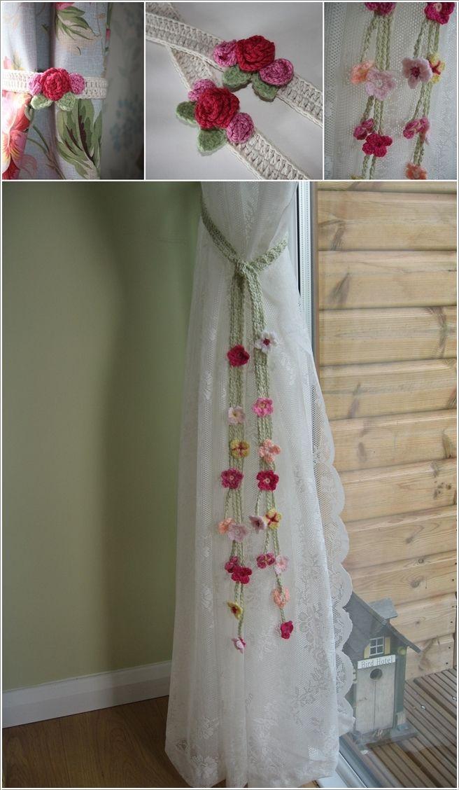 Crochet flower curtain tie backs