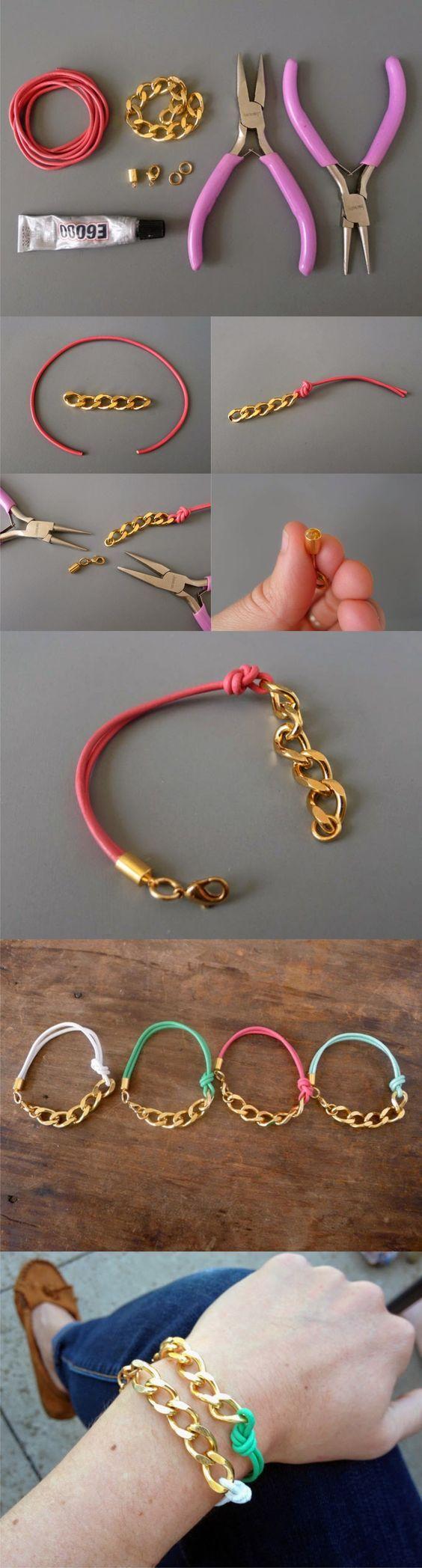 Pulsera con cadena y cordón de cuero / Via http://www.thanksimadeitblog.com: