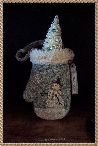 WinTer Snowman- Primitive Original Christmas Punch Needle Mitten Ornament Hanger