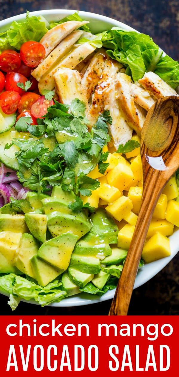This Chicken Mango Avocado Salad recipe is loaded with juicy chicken, creamy avocado and that sweet pop of mango flavor takes this mango salad over the top. The sweet and tangy honey vinaigrette couldn't be easier! A Cheesecake Factory recipe (copycat). | natashaskitchen.com #mango #mangosalad #mangorecipes #mangochicken #cheesecakefactory #salad