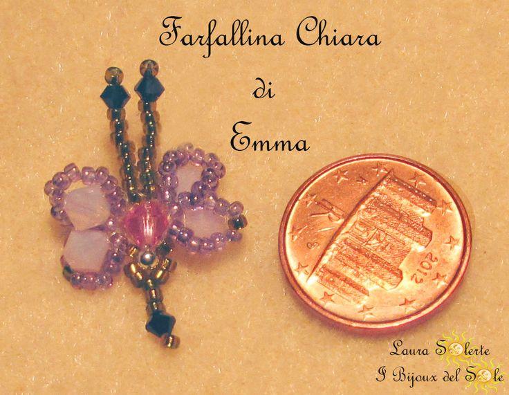 Farfallina Chiara  #charm #swarovski #miyuki #ciondolo #cristalli #perline #LauraSolerte