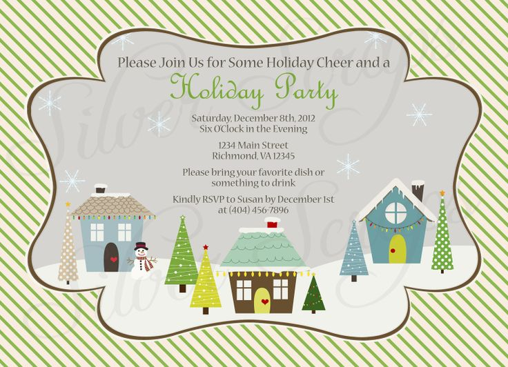Charming Neighborhood Christmas Party Ideas Part - 4: Holiday Houses Landscape Custom Christmas Party Invitation - Winter, Snow,  Neighborhood, Block,