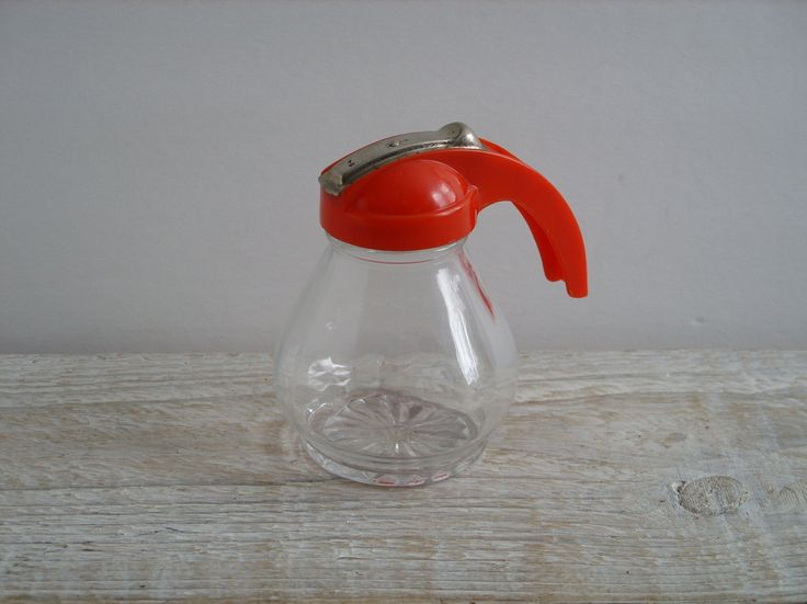 Vintage Red Syrup Jar ~ Retro Glass Honey Dispenser ~ Mid Century Farmhouse Kitchen Small Server Serving Container by RetrOAmyO on Etsy