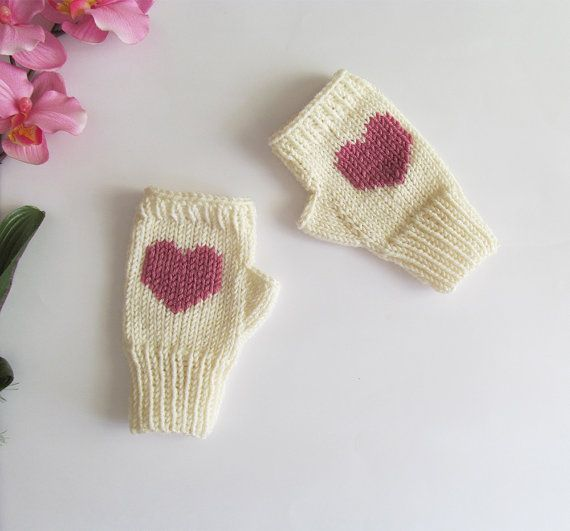 Knit Fingerless Gloves in Ivory Rose Embroidered by naryaboutique