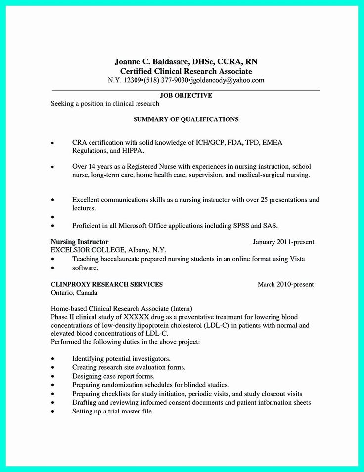 Clinical Research Associate Resume Awesome Making Clinical