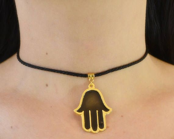 black hamsa #choker, khamsa #jewelry, hand of fathima #necklace, lace hand choker, kaballah pendant, lucky amulet charm, fertility talisman, jewish hanukkah,gemstone, hamsah, five fingers gold, hamsa necklace, turkish amulet