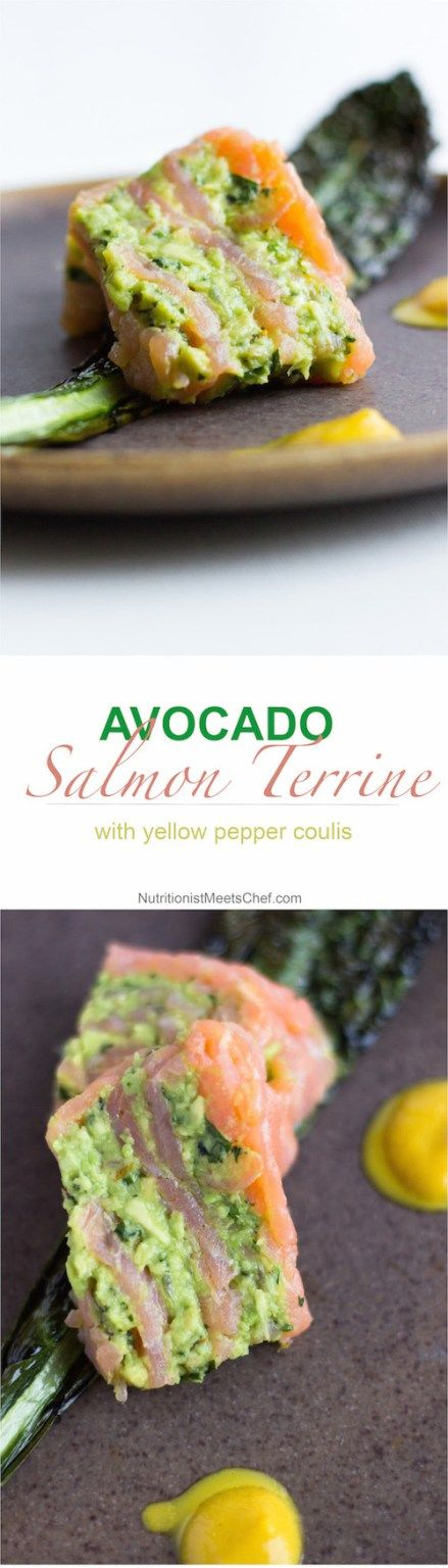 Avocado Salmon Terrine with Yellow Pepper Coulis. A great dairy-free starter!