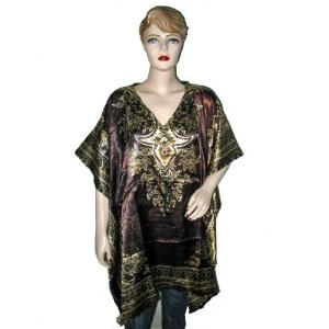 WOmens Dress Brown Elegant V Neck Ethnic Print Silk Satin Short Caftan Tunic Top Poncho (Apparel)