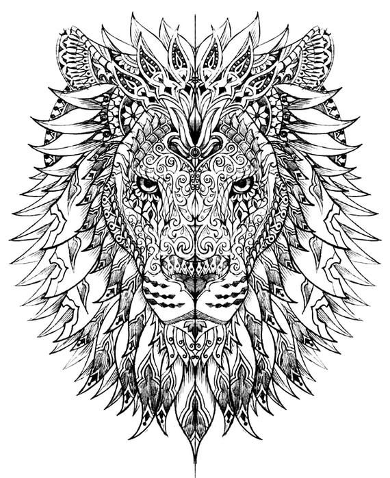 LION – Instant Download – ADULT Coloring Pages – Digital Printable Design – Coloring Page Printable – Lion Printable