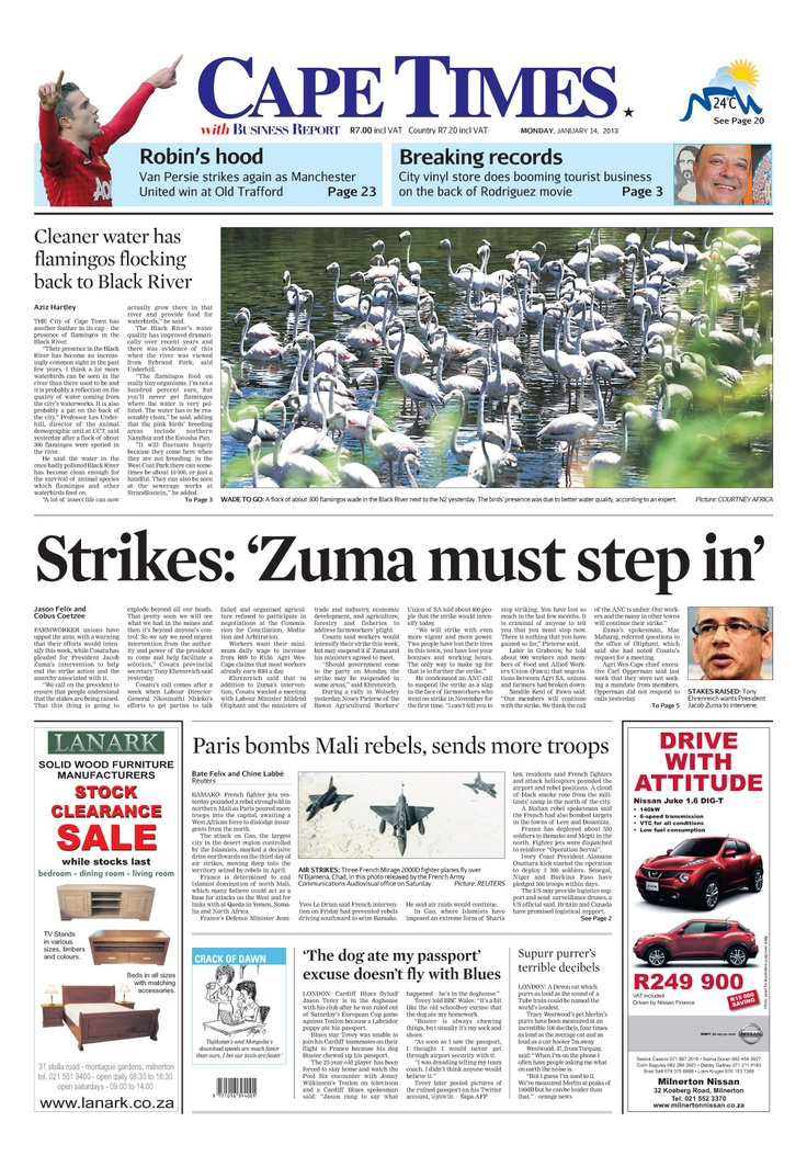 News making headlines: Strikes: Zuma must step in