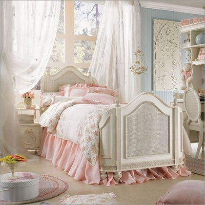 Beautiful bed..love the curved headboard.  Lovely child's bedroom.
