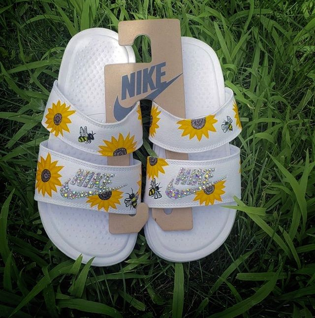 Nike duo ultra sunflowers slides   THE