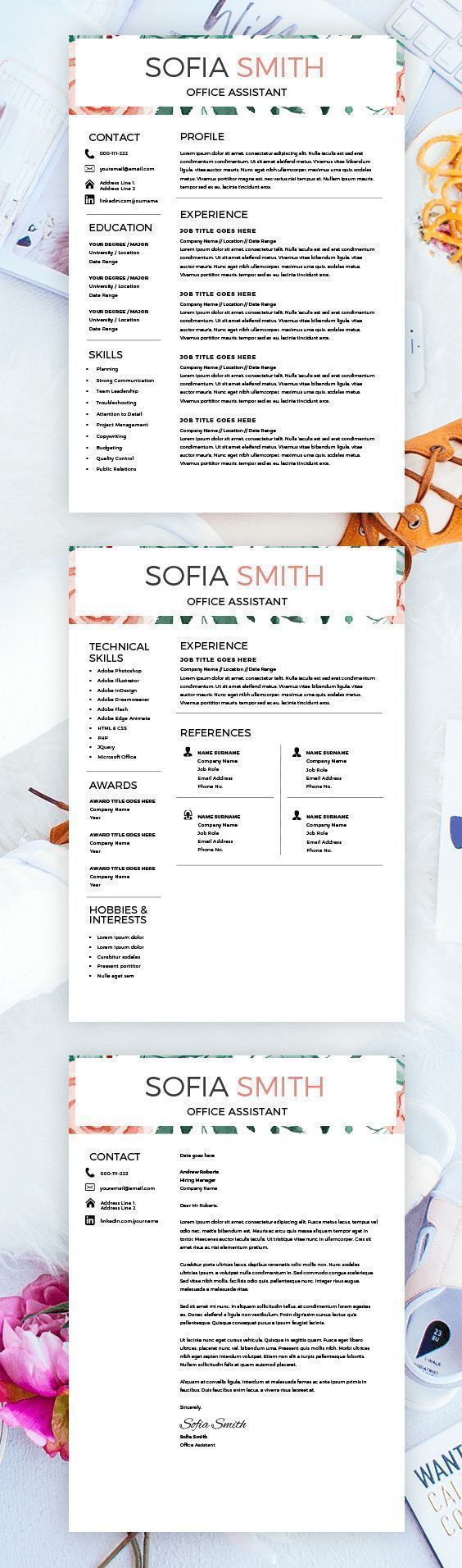 Resume for Female - CV design - Resume Download - MS Word Resume for Word - Professional Resume Template Mac - Instant Download