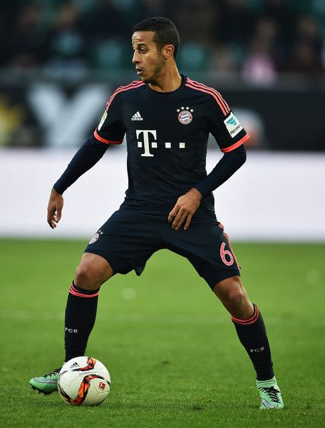 Thiago of Muenchen in action during the Bundesliga match between VfL Wolfsburg and FC Bayern Muenchen at Volkswagen Arena on February 27, 2016 in Wolfsburg, Germany.