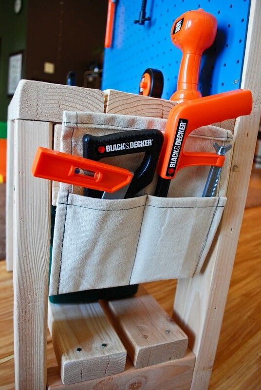 Diy toddler workbench pockets