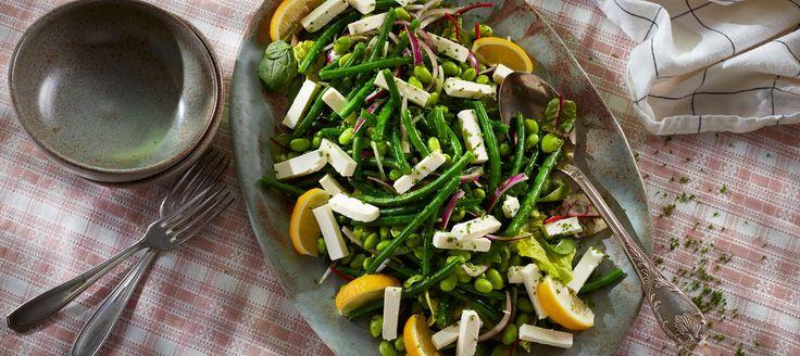 Edamame-bønnesalat  PLUS cherrytomater og kikærter.  MINUS citron, olivenolie, salt og salat