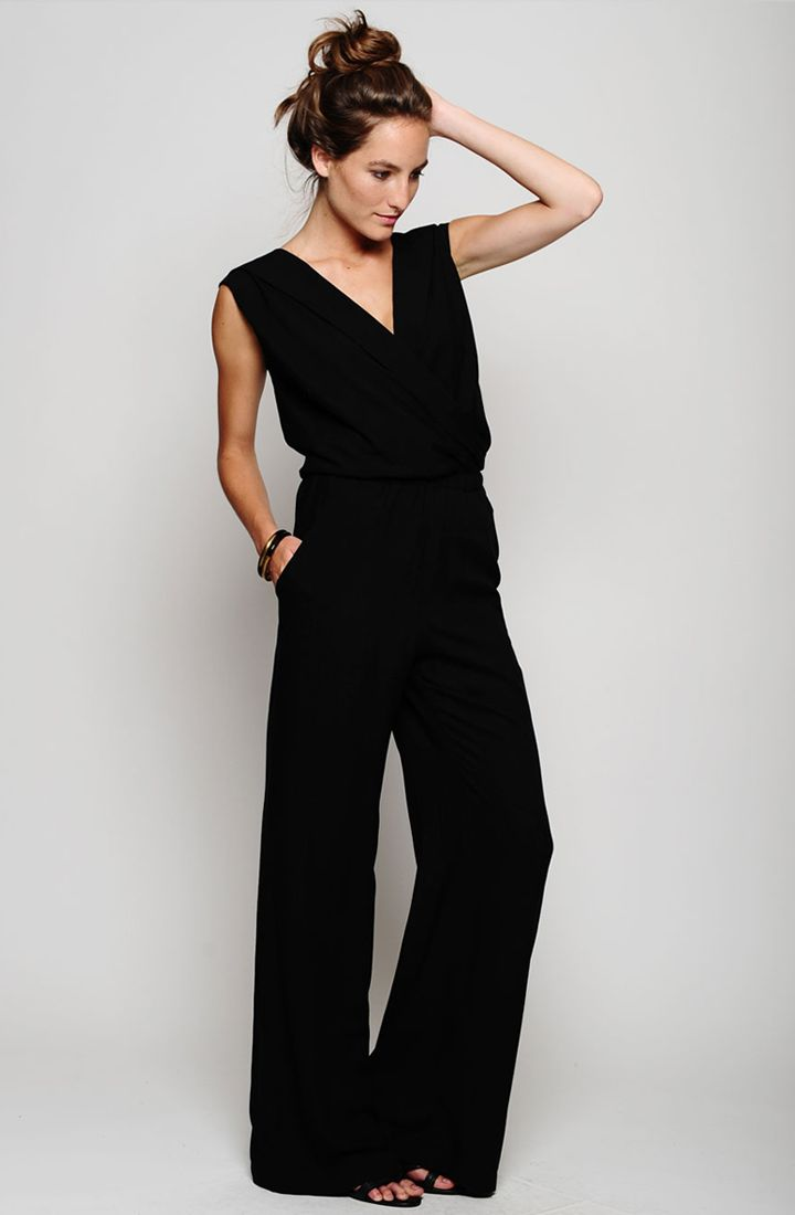 Outfit idea: the jumpsuit | I would totally wear this with some big hair and big earrings.  :)
