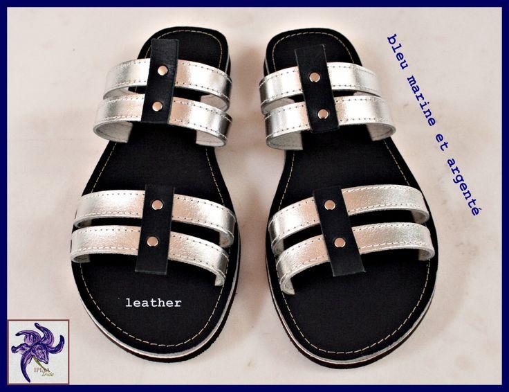 Sandales/mules en cuir vachette. de la boutique IridairidaAtelier sur Etsy