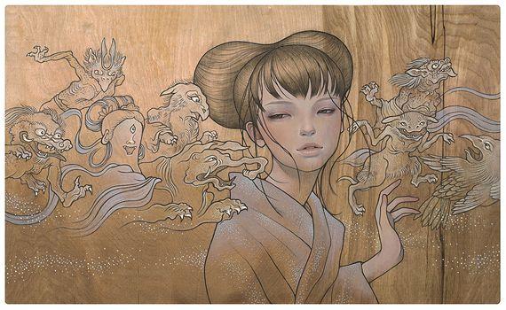 Hyakki Yakou by Audrey Kawasaki. THE LINE QUALITY! OMG! Plus the wood background is pretty sweet.