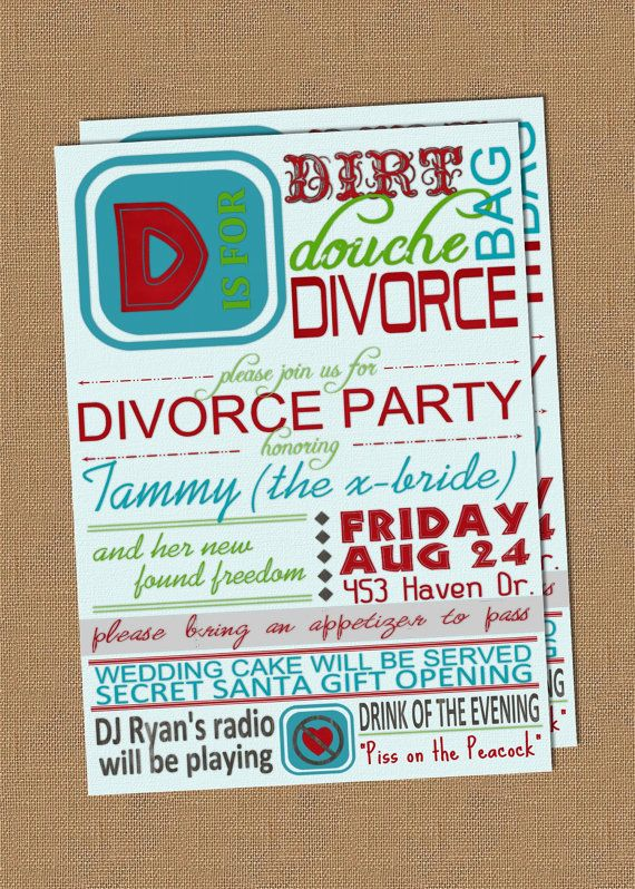 8 best Divorce Party Invitations images on Pinterest Divorce